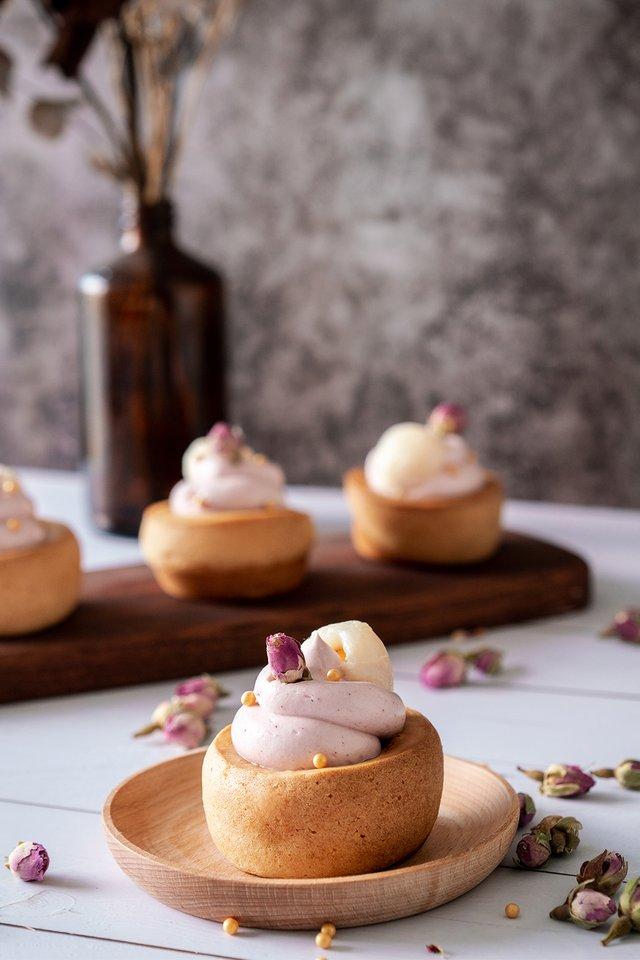 Lychee Raspberry Rose Mochi Cupcake