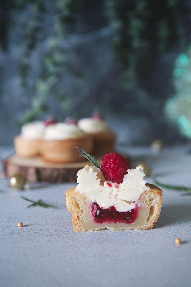 Raspberry White Chocolate Mochi Cupcake